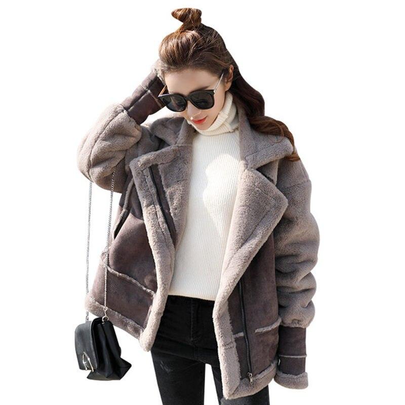 U-SWEAR 2018 Winter Faux Suede Lambs Wool Jacket Women Parka Lapel Thicken Cotton Coat Women Manteau Femme Hiver Lambswool Coats