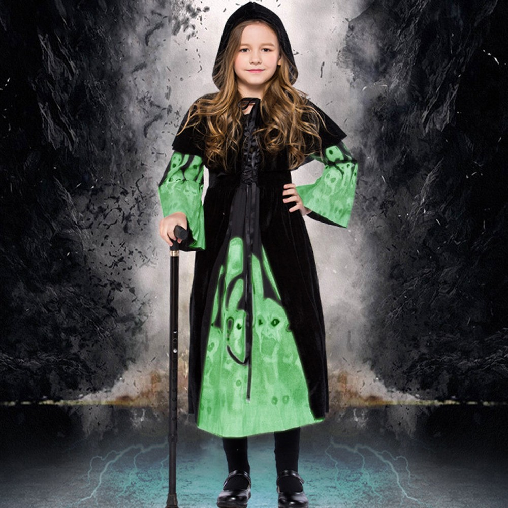 2PC Fashion Children Halloween Costume Cosplay Ball Party Hooded Luminous Dress Shawl Suit vestidos verano 2018 free ship #TH
