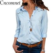 Women Cotton Shirt Casual Turndown Collar Loose Button Blouse Spring Summer Ladies 7 Colors Tops Female Shirt Plus Size S-5xl turndown collar pocket corduroy shirt