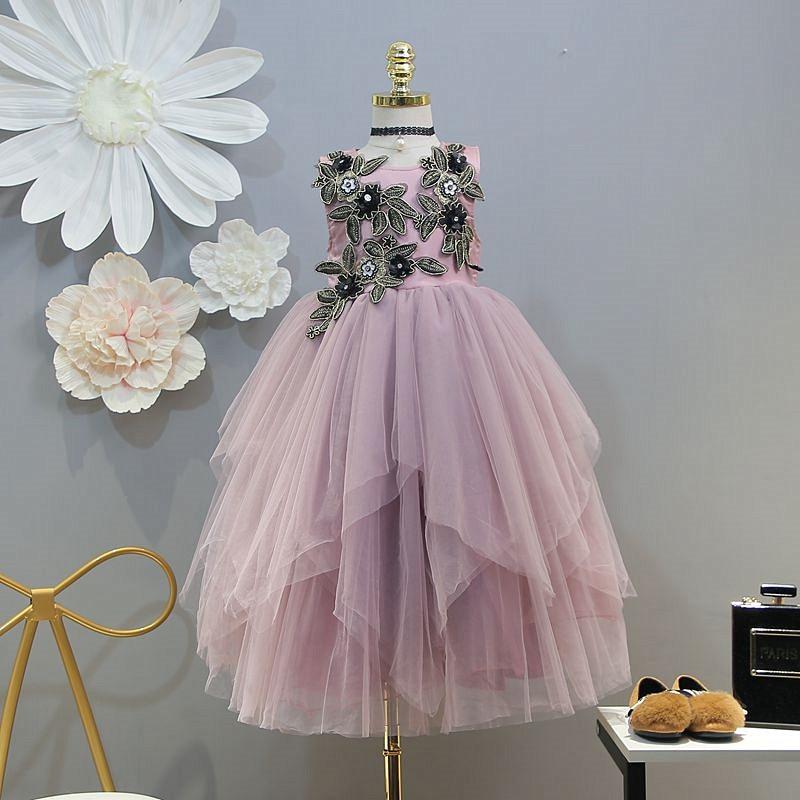 Robe pour enfants 2019 printemps nouveau haut de gamme personnalisé filles stéréo fleur maille tunique robe