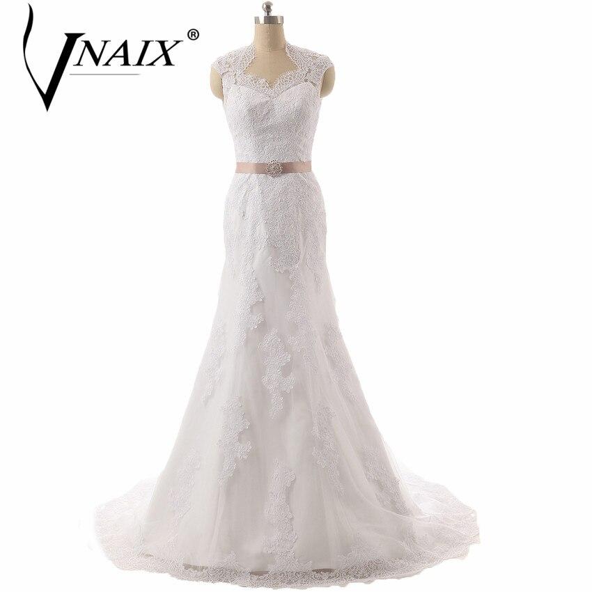 Vnaix W3139 Elegant Back Mermaid Lace Wedding Dress With
