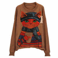 Literature Lovely Cat Pattern Printed Women Sweater Long Sleeve Autumn Winter Pull Crimping Knitted Pullover Jumper Harajuku Top