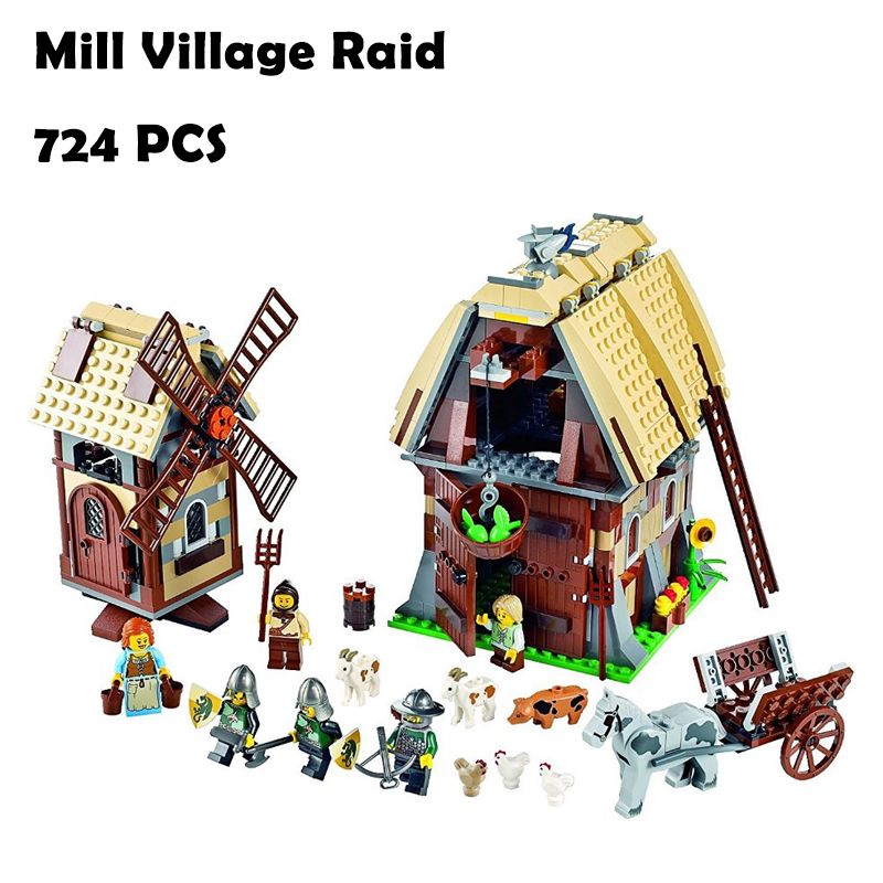 Model Building Blocks toys 16049 742Pcs Mill Village Raid compatible with lego Creative Series 7189 Educational DIY toys hobbie model building blocks toys 16009 1151pcs caribbean queen anne s reveage compatible with lego pirates series 4195 diy toys hobbie