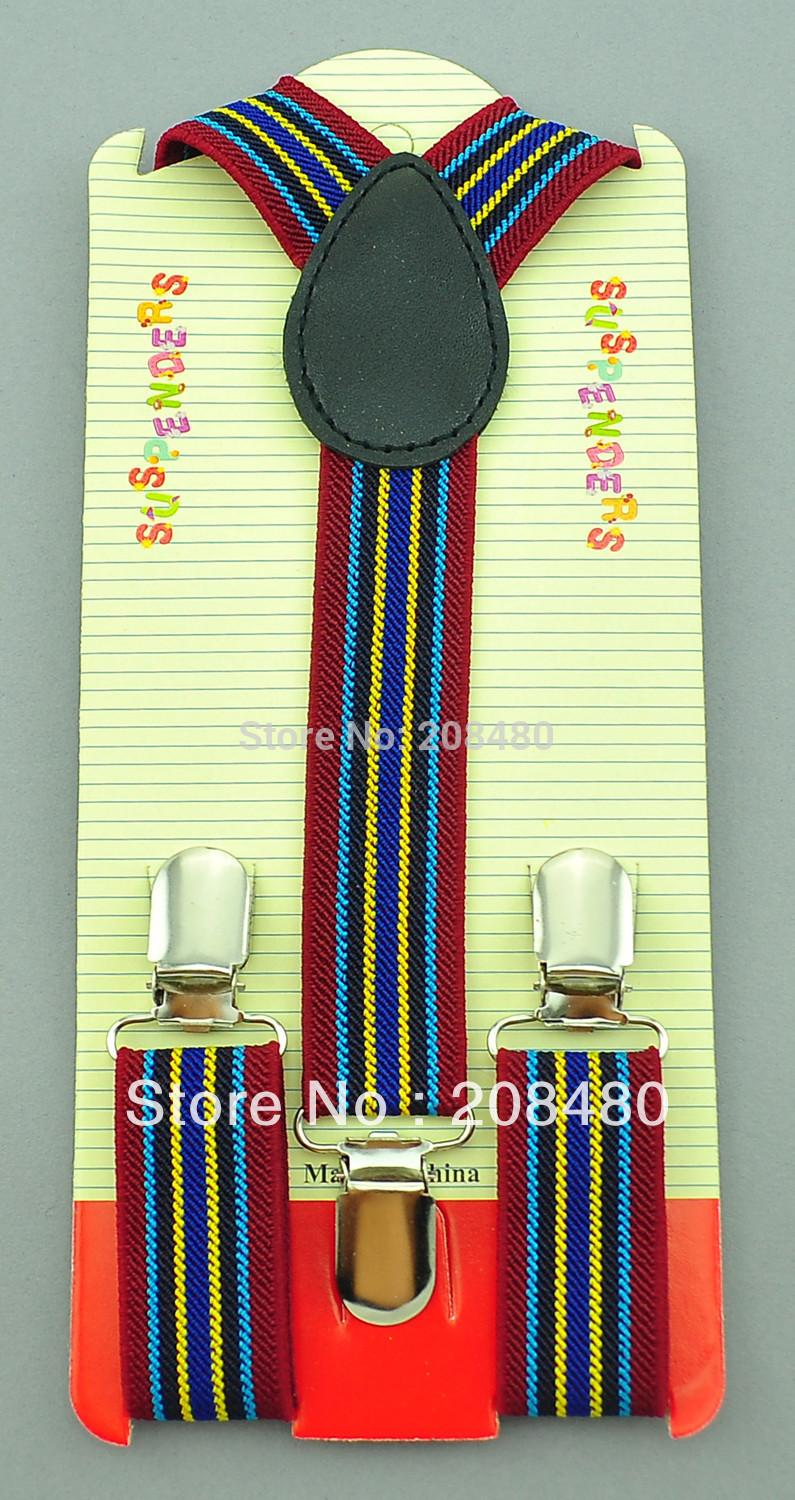 2pcs/lot Wholesale 2.5cmx65cm Striped #17 Kids Suspenders Children/Boys/Girls Elastic Braces Slim Suspender Y-back Suspenders