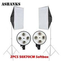 2PCS 50CMx70CM 4 Lamp Holder Softbox+ For E27 lamps Photo Studio Photography Lights Softbox reflective Material