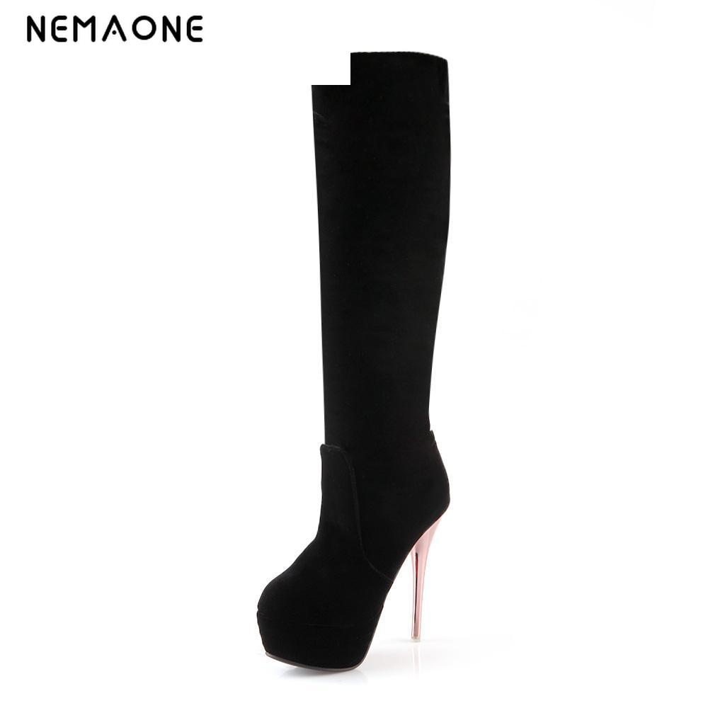 Big size 34-43 new fashion flock knee boots high quality women thigh high Stretch boots for women shoes ladies new 2017 spring summer women shoes pointed toe high quality brand fashion womens flats ladies plus size 41 sweet flock t179