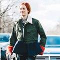 [TWOTWINSTYLE] 2017 Осень Зима Мода Хит Цвет Меховой Воротник Сплайсинга Рябить Армия Зеленый Пиджак Пальто Женщин Сгущает Новый Clothing