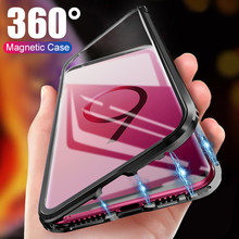 Magnetic Flip Metal Phone Case For Samsung Galaxy S8 S9 S10 Plus Lite Cover Double Side Glass Capa Note 8 9 S10e 360 Full Fundas(China)