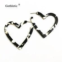Сережки кольца в форме сердца уксусная кислота 50 мм ювелирные