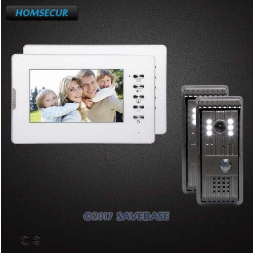 HOMSECUR 2V2 7 Video Intercom System with Quality Night-Vision with Color Images for House/ Flat