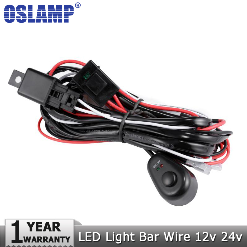 Oslamp Car Auto Led Work Lamp Driving Lights Wiring Loom Harness Offroad Led Light Bar Wire Cable 40A 12v 24v Switch Relay Kit ...