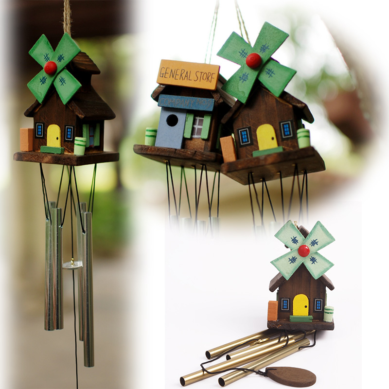 Hot sale Chinese Yunnan Unique Windmill Copper Log-cabin Metal Wind Chimes Rustic Cute  #69713