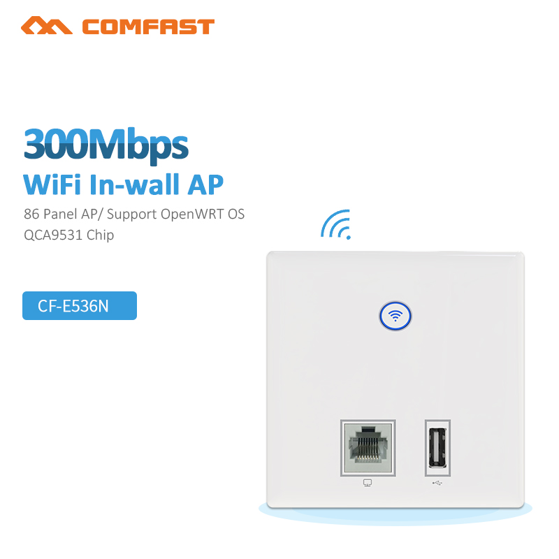 300Mbps Wireless WiFi AP Access Point Router WiFi Repeater Extender, USB,RJ45 Indoor Wall Mount Standard 86mm Panel  CF-E536N