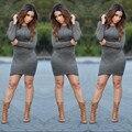 Couro sintético de camurça vestido 2016 sexy clube outono inverno mulheres desigual bandage full-luva bodycon mini vestido vestidos XD139