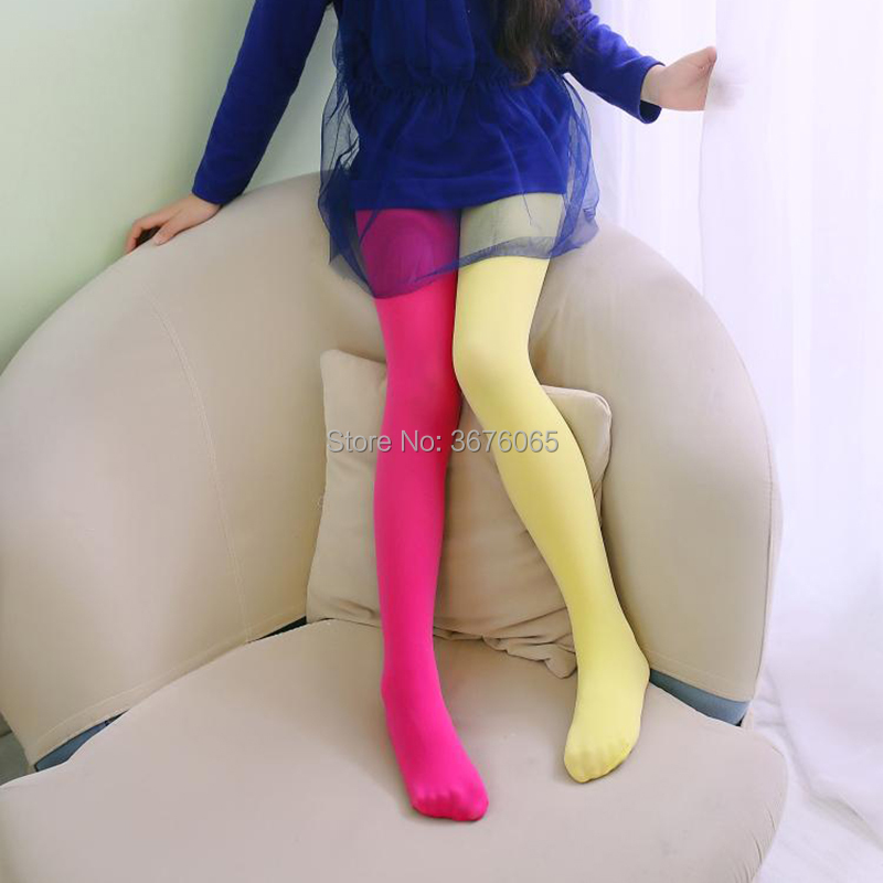 Girls candy color tights for baby kids cute velvet pantyhose contrast  Combination color girl spring/autumn warm dance stockings