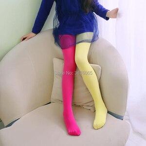 Image 1 - Meisjes Snoep Kleur Panty Voor Baby Kids Leuke Fluwelen Panty Contrast Combinatie Kleur Meisje Lente/Herfst Warme Dans Kousen