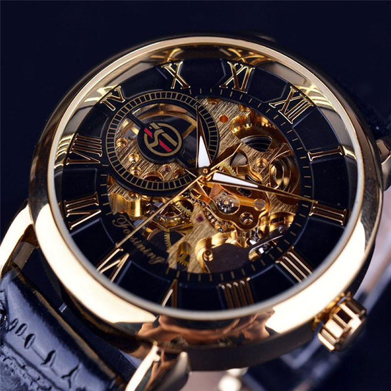 Luxury Mens Steampunk Skeleton Stainless Steel Automatic Mechanical Wrist Watch wholesale