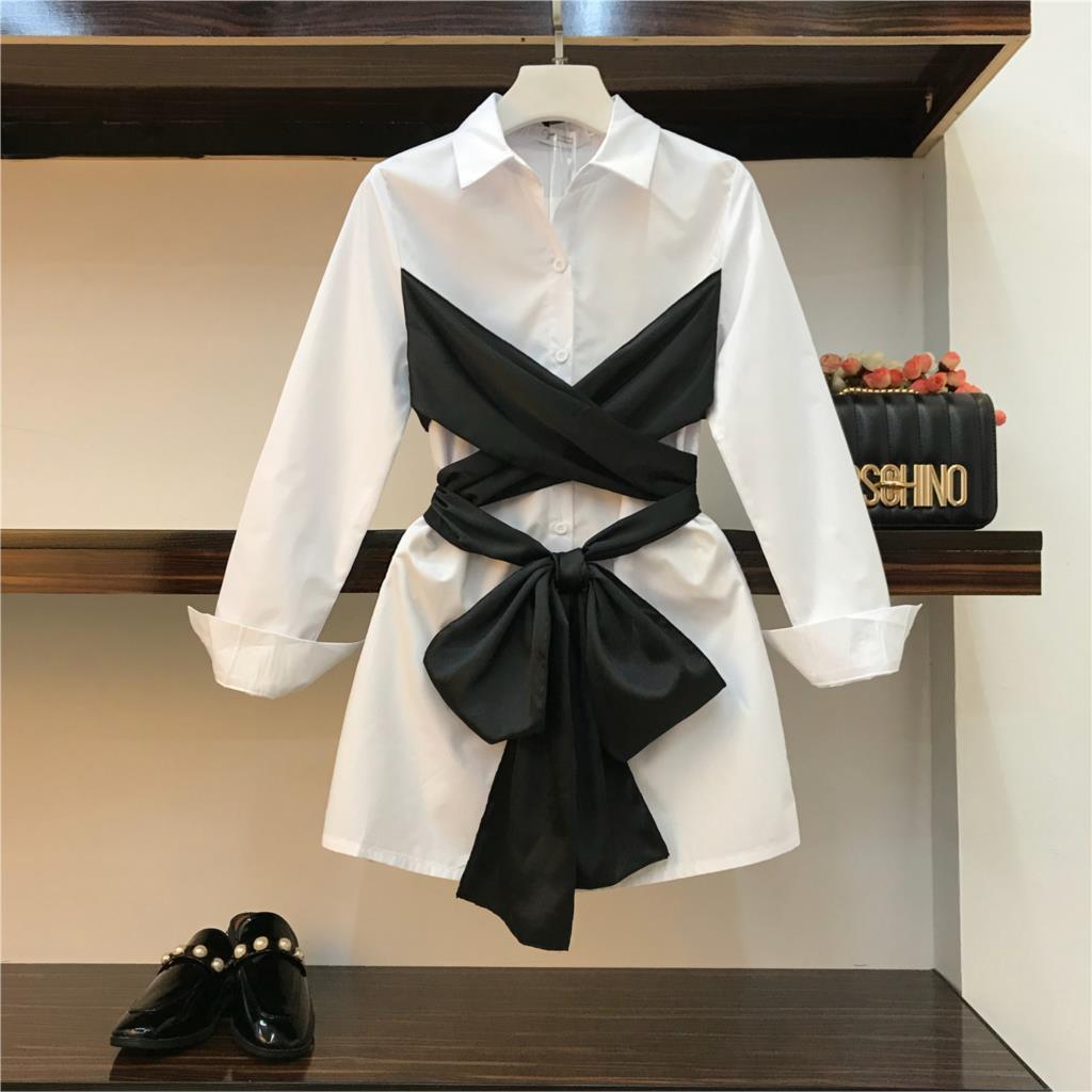 2019 Spring New Fashion Women's Splice Wipes Faux Two Piece White Shirt Dress Slim Lady Girls Long Sleeve A line Dresses
