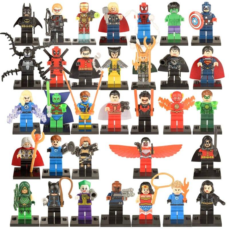 Galleria fotografica Single Sale Classic Super Heroes Hulk Thor Iron Man Loki Deadpool Venom Odin Wonder Woman <font><b>Legoinglys</b></font> Avenger Building Block Toy