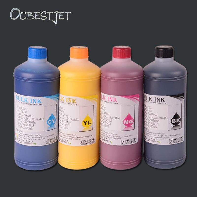 OCBESTJET 1000ML 4 Color Desktop Pigment Ink For Epson Stylus T10 TX600FW TX550W WP-4000 PX-B750F PX-B700 Printer Ink Refill Kit