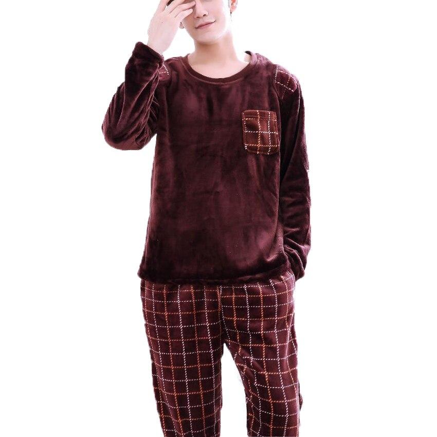 Men Flannel Pajamas Set Casual Home Clothing Winter Long Sleeve Round Neck Cartoon Men's Sleepwear Pyjamas Homme Nightclothes 3