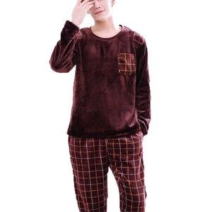 Image 4 - Men Flannel Pajamas Set Casual Home Clothing Winter Long Sleeve Round Neck Cartoon Mens Sleepwear Pyjamas Homme Nightclothes