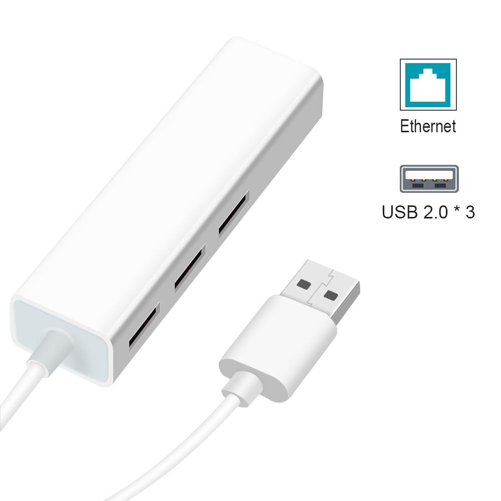 USB Ethernet con 3 puertos USB HUB 2.0 RJ45 Lan Tarjeta de red - Equipo de red - foto 5