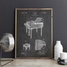 Cartel de Arte de músico de patente de Piano Retro, impresiones de imágenes, decoración para el hogar, impresión en lienzo Vintage, pintura de regalo, idea de decoraciones musicales