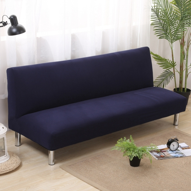 Blue Solid Color Armless Couch Sofa Slipcovers Universal Stretch Bed Covers Navy Removable Plush For