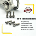 TiTo 6pcs Titanium alloy bicycle stem Bolts Screw Ti Bolt Kits with Washer Spacer taper head M5x18mm