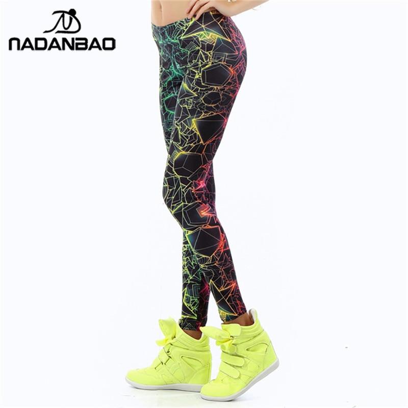 NADANBAO wholelsales New Fashion Women leggings  3D Printed color legins Ray fluorescence leggins pant legging for Woman