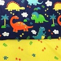 Dinosaures feuilles Coton Tissu Patchwork De Tissu À La Main En Tissu DIY Quilting Couture Bébé & Enfants Feuilles Robe Matériel 2 Pcs/Lot