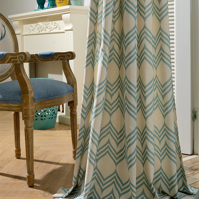 Blue Striped Curtains For Living Room Cloth Fabric Shading Bedroom Kitchen Beige Window D
