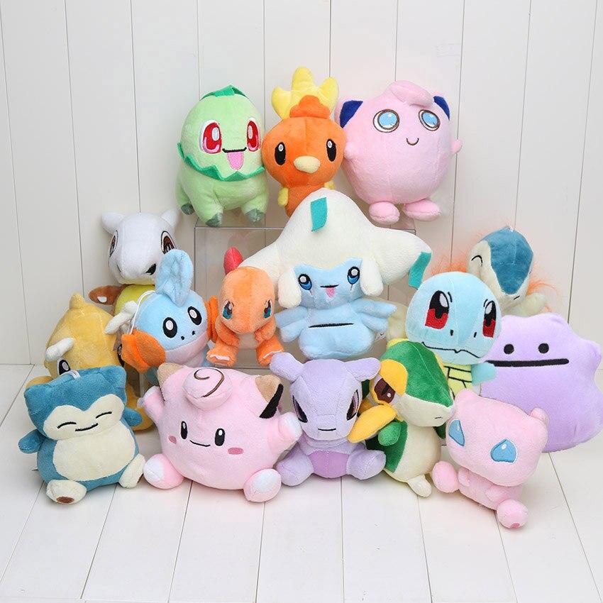 16pcs lot cute doll Charmander Cubone Mudkip Clefairy Raichu Dragonite Chikorita Plush Toy Soft Dolls Kids
