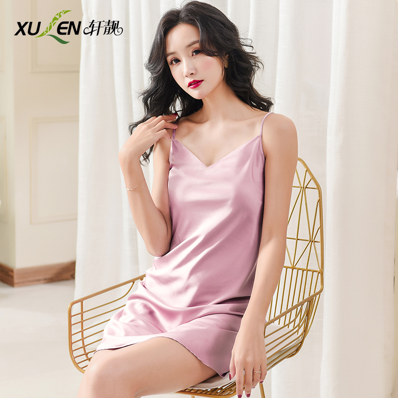 Women sexy dress bride bridesmaid   nightgown   hot   sleepshirt   plus size sleepwear summer ice silk home v-neck short night skirt