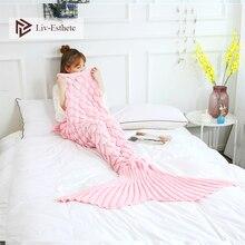 Liv-Esthete Fashion Pink Knitted Mermaid Tail Blanket Crochet Sleeping Bag For Kids Adult All Season Birthday Christmas Gift