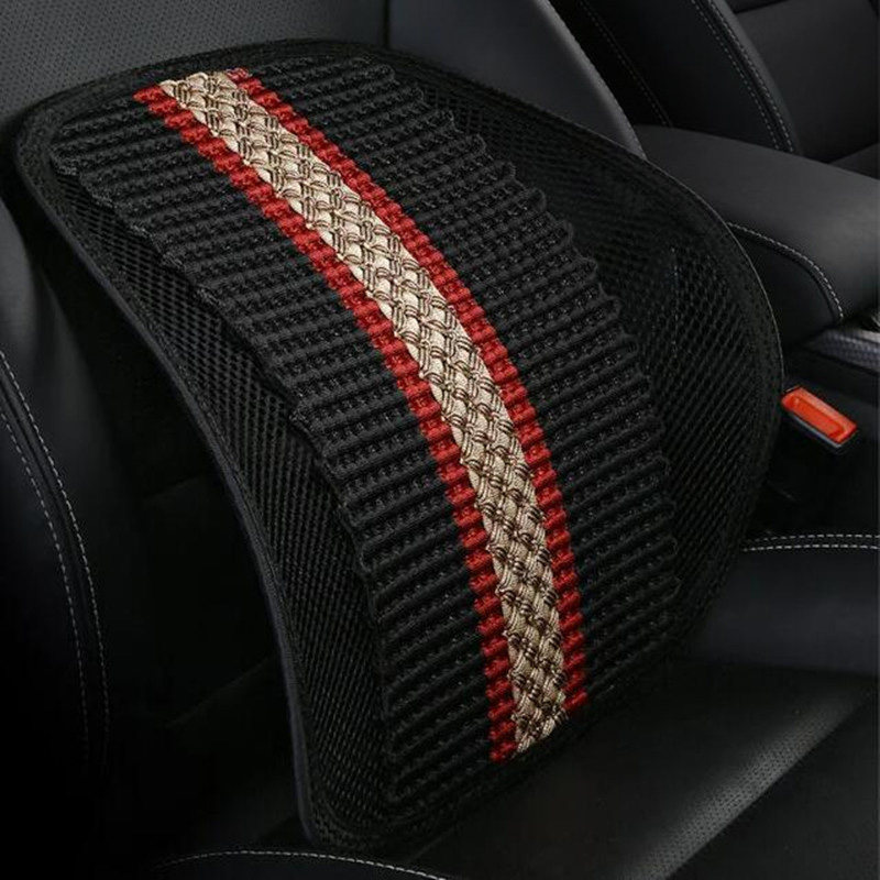 Breathable Car Lumbar Cushion Wooden Beads Waist Massage Summer Waist Pad Driver Seat Lumbar Pillow Backrest Car