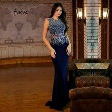 Finove, черные вечерние платья русалки с круглым вырезом, украшенные бисером, платья для выпускного вечера, иллюзия, длина до пола, винтажные платья для выпускного вечера, платье