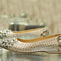 Comfortable Formal Dress Shoe Glitter satin rhinestone crystal bridal shoes flat heel female flat crystal wedding shoes