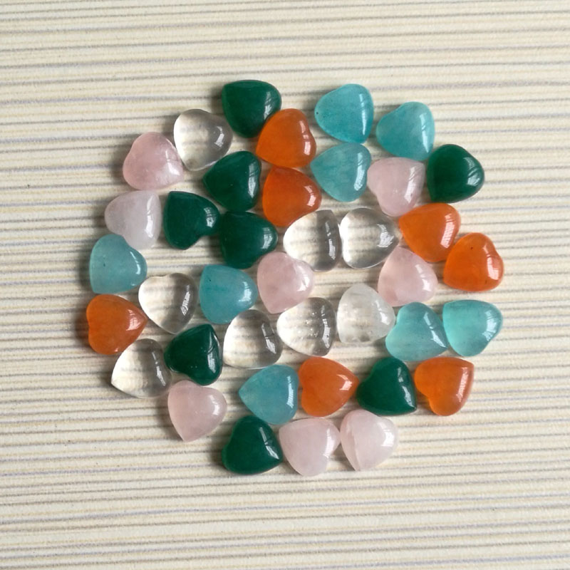 Wholesale 20pcs/lot 10*10mm Mixed Natural stone beads heart CAB CABOCHON teardrop opal/pink crystal stone beads