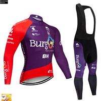 2019 Pro UCI Cycling Burg Team Clothing Purple Long Sleeve MTB Bike Maillot Ciclismo Cycling Jersey Set Jersey Ropa Ciclismo 16D