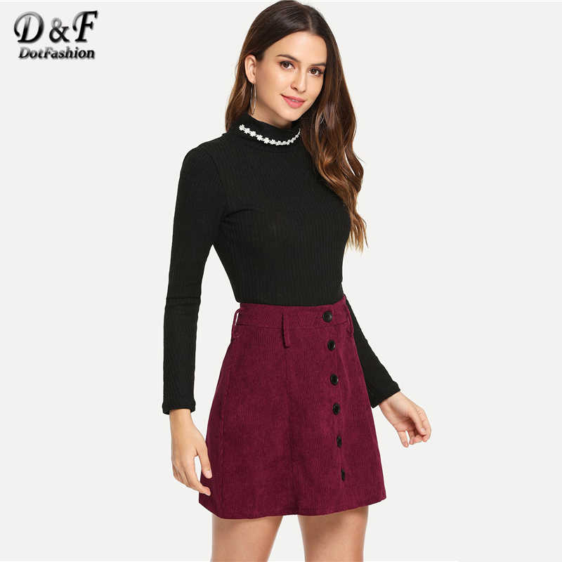 06660a09d594 ... Dotfashion Burgundy Single Breasted Corduroy Skirt Womens Clothing 2019  Fashion Casual Summer Autumn A Line Mid
