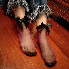 1 Pair Women Glitter Mesh Silk Short Socks Bowtie Shiny Harajuku Soft Socks Transparent Elastic Hosiery JL