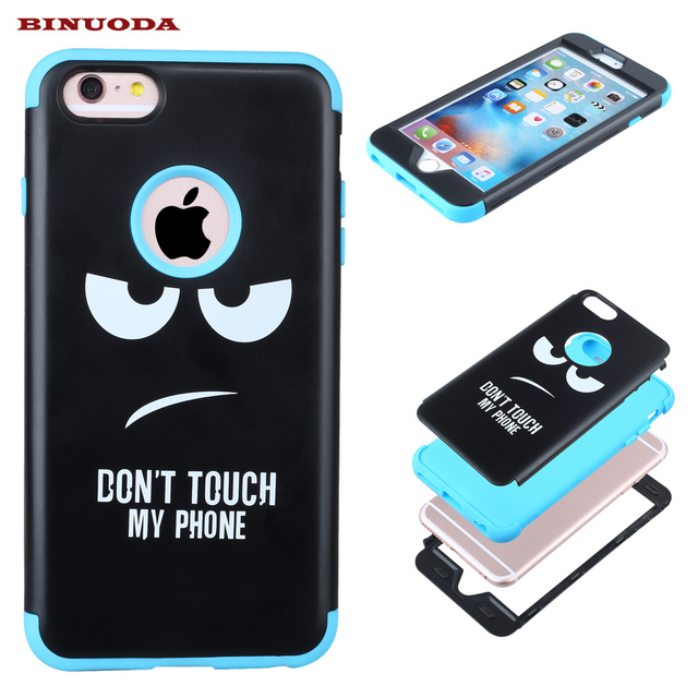 newest collection fd3e6 99d22 US $6.99 |Shockproof Phone Case for Apple iPhone 6 Plus Dont Touch My Phone  Hard PC + Silicone Skin Cover for iPhone 6S Plus 7 Plus 6 6S 7-in Fitted ...