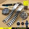 Sólidos de acero inoxidable correa de reloj 20mm 22mm doble hebilla de reloj de pulsera de reloj para omega seamaster planet ocean 600 m correa de reloj de hombre