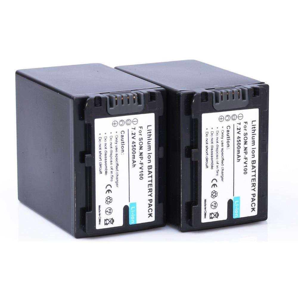 2 pcs/lote 4500 mAh np - FV100 FV100 Batteries pour Sony np - fv30 np - fv50 np - fv70 SX83E SX63E livraison gratuite