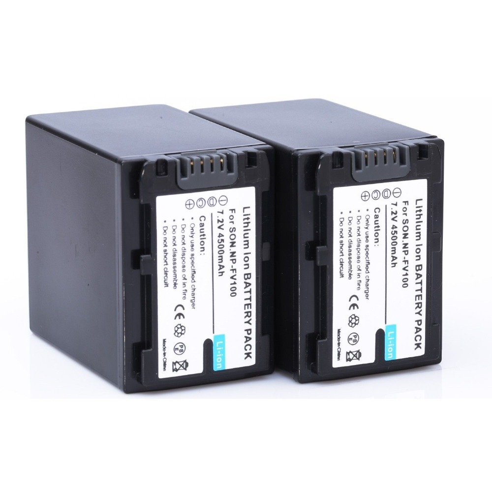2 unids/lote 4500 mAh np-fv100 fv100 Baterías para Sony np-fv30 np-fv50 np-fv70 sx83e sx63e envío libre