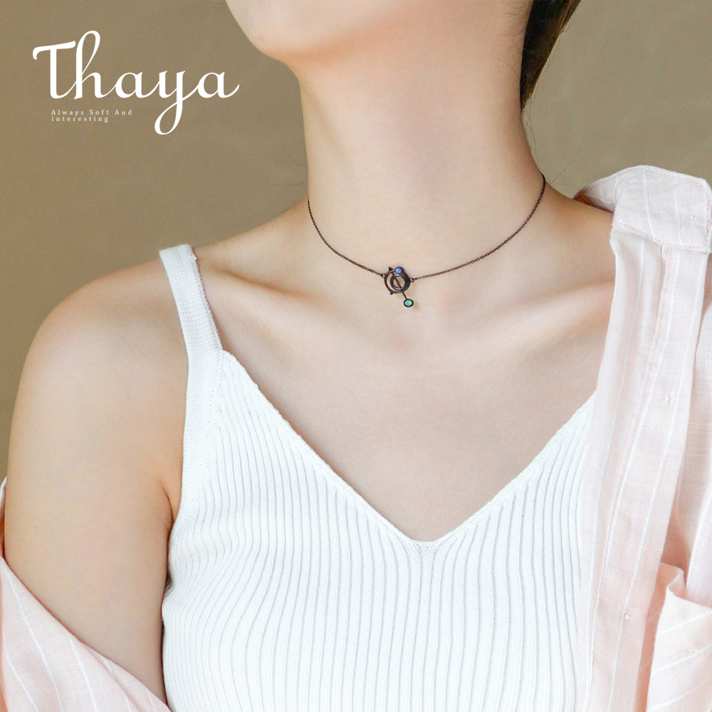 Thaya Original Design Astrograph s925 Silver Opal Pendant Necklace Black Clavicle Chain Necklace for Women Gift Simple Jewelry