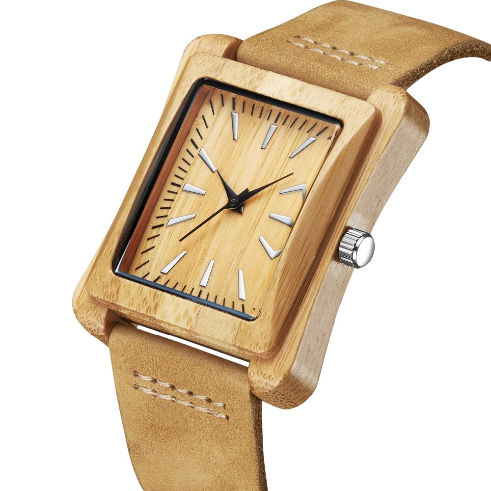 2017 Fashion Rectangle Wood Bamboo Men's Top Quartz Casual Brand Watch relogio masculino With Leather Strap For Gift bobo bird l26 square zebra wood bamboo quartz watch men s top casual brand watch relogio masculino with leather strap for gift