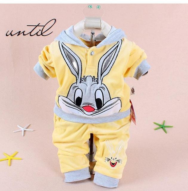 620271e9f Retail New 2016 Spring/Autumn Baby Set Velvet Rabbit Cartoon Print Hoodie+ Pant  Twinset Long Sleeve Velour Baby Clothing Sets